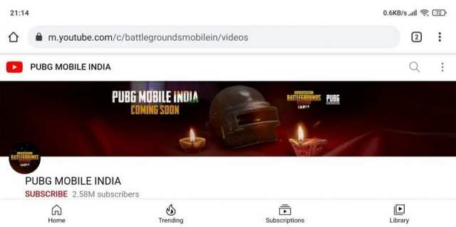Youtube channel of PUBG Mobile