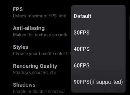 Select 90fps if supported