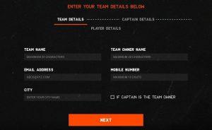 Enter Team details